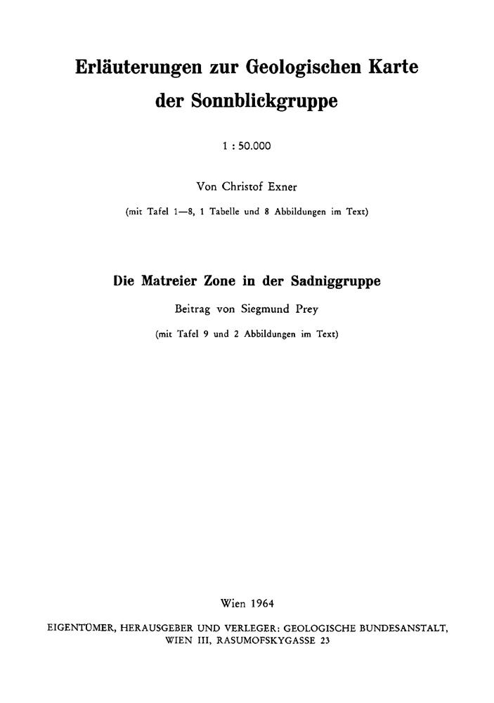 Erläuterungen zur Geologischen Karte der Sonnblickgruppe 1:50.000