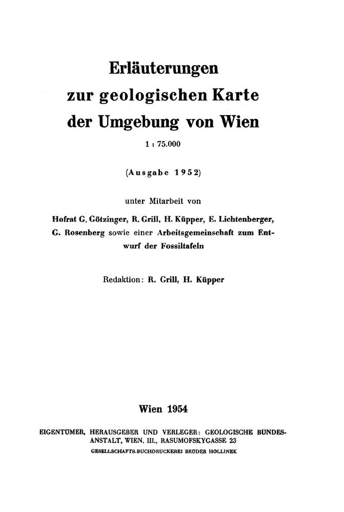 Erläuterungen zur geologischen Karte der Umgebung von Wien 1:75.000