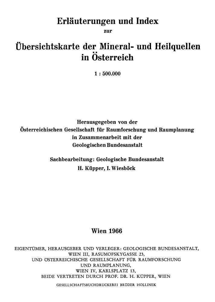 Erläuterungen zur Übersichtskarte der Mineral- und Heilquellen in Österreich