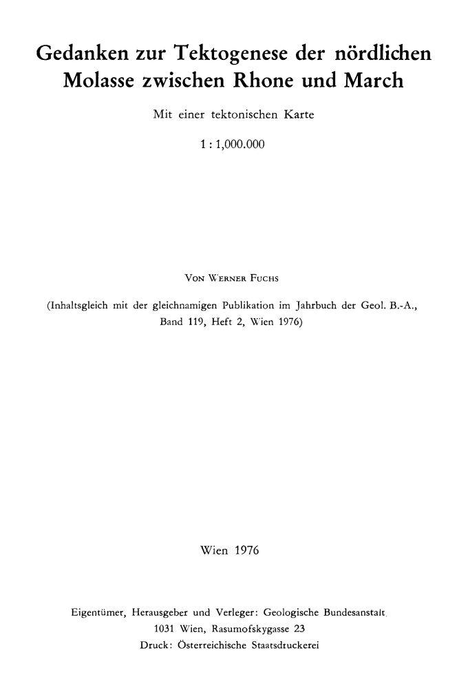 Die nördliche Molasse und ihr Rahmen zwischen Rhone und March 1:1.000.000 mit Erläuterungen