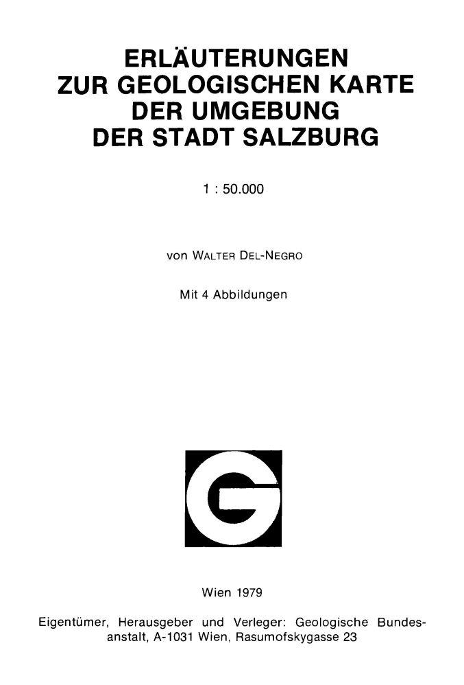 Erläuterungen zur geologischen Karte der Umgebung der Stadt Salzburg 1:50.000