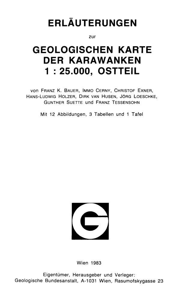 Erläuterungen zur geologischen Karte der Karawanken 1:25.000, Ostteil