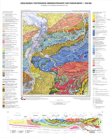 Geologisch-tektonische Übersichtskarte von Vorarlberg 1:200.000