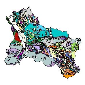 Kartographisches Modell 1:200.000 Hallein - Geologie (Pol.Bez. 502)