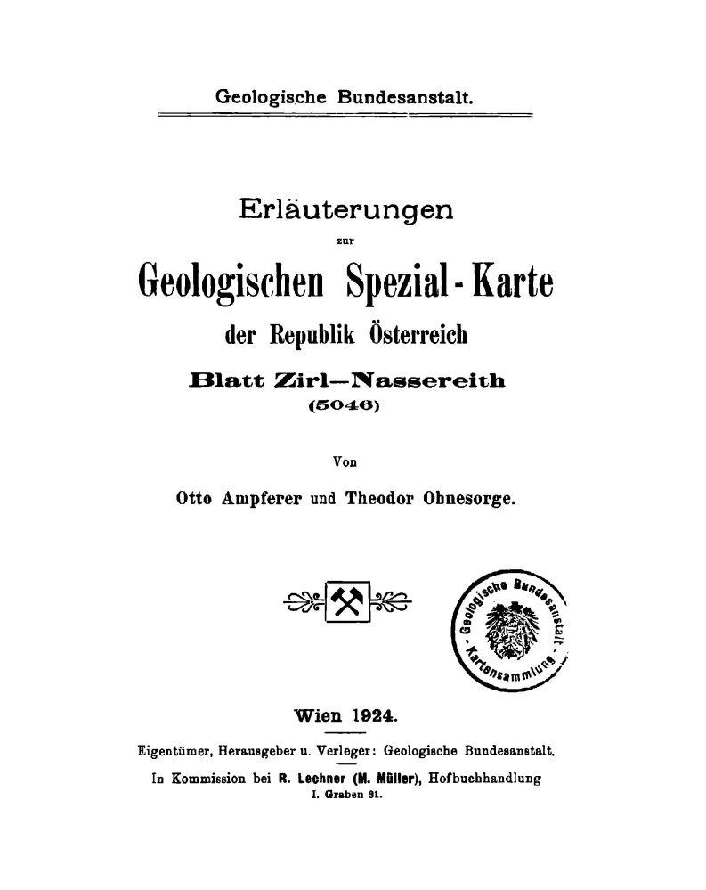 Erläuterungen zu Blatt 5046 Zirl-Nassereith