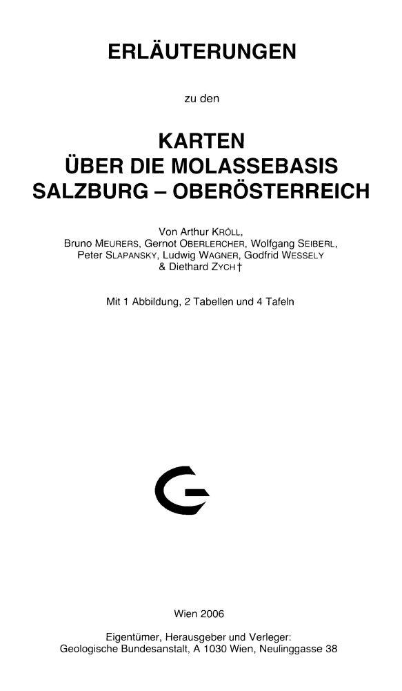 Erläuterungen zu den Karten über die Molassebasis Salzburg - Oberösterreich + 4 Karten
