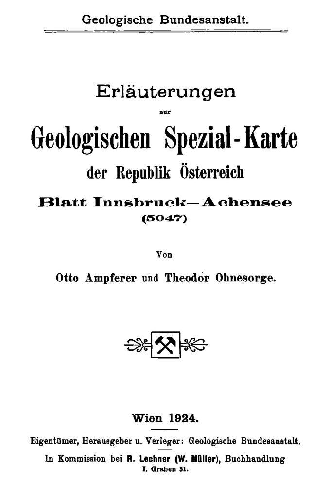 Erläuterungen zu Blatt 5047 Innsbruck-Achensee
