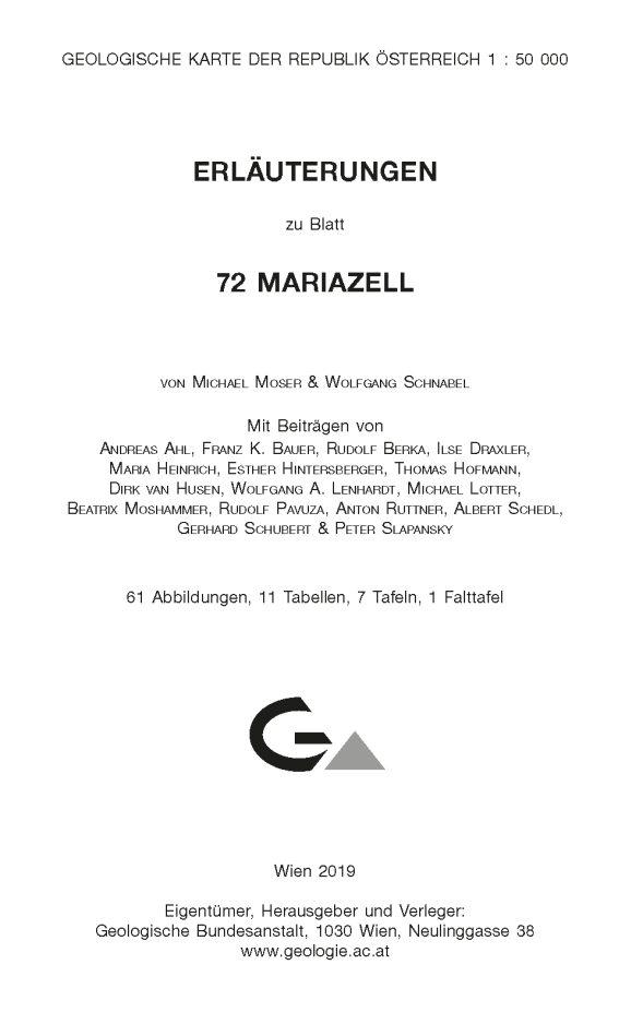 Erläuterungen zu Blatt 72 Mariazell